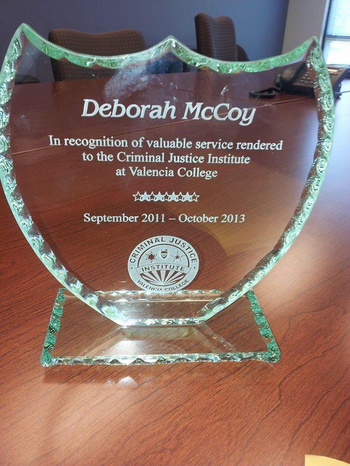 Deborah McCoy Award from Valencia College